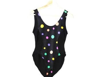80s neon polka dot one peice swimsuit 1980s vintage brazilian high cut bathing suit small medium