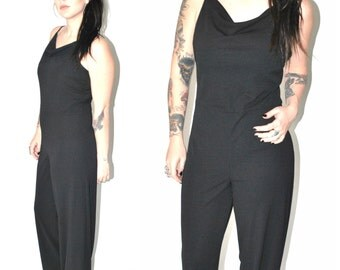 black PALAZZO jumpsuit vintage 80s 90s MINIMALIST wide leg one piece CATSUIT romper small medium