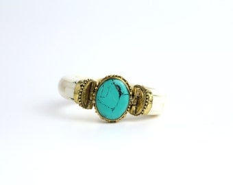 Vintage Bone and Brass Bracelet | Turquoise Resin Stone Bangle | Tribal Metalwork Bracelet