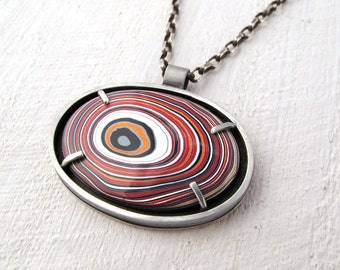 Corvette Fordite necklace, Detroit Agate necklace, fordite jewelry, girlfriend gift, Mens necklace, Mens jewelry,dad gift for him