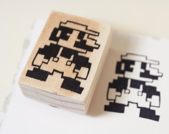 8 Bit Mario Rubber Stamp // Handmade Stamp // Letterboxing