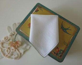 Vintage Handkerchief Plain White Crocheted Scalloped Trim Scotland Hankie Scottish Wedding - EnglishPreserves