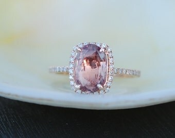 Sunset Ginger Peach sapphire ring 14k rose gold ring diamond ring engagement ring 2.07ct ginger sapphire. Engagement ring by Eidelprecious