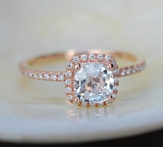 White sapphire engagement ring 14k rose gold diamond ring 1.55ct cushion sapphire ring by Eidelprecious