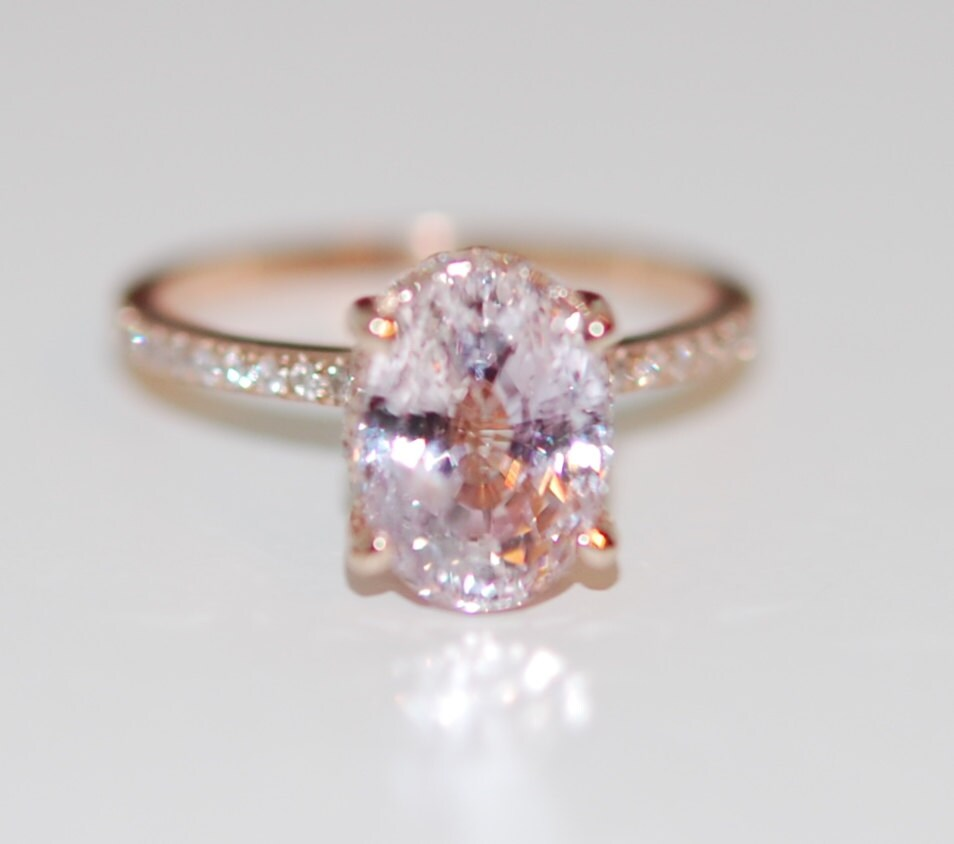 Engagement Ring Diamond Ring 3 58ct Lavender Peach Oval