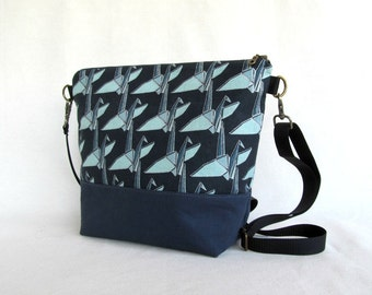 ADELE Medium Handbag //  Crossbody Purse // Blue // Blue Crane Imported Cotton // Waterproofed Cotton