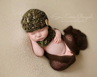 Baby Boy Hat, Baby Boy Bow Tie, Infant Photo Prop, Baby Boy Clothing, Baby Hat, Newborn Hat, Infant Hat, Baby Beanie, Crochet Baby Cap, Camo