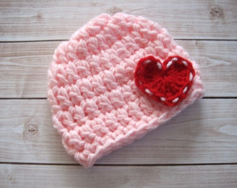 Baby Girl Valentine Hat, Babys First Valentine Hat, Baby Girl Hat, Valentine Kids,  Newborn Girl Beanie, Pink Baby Hat with Hearts