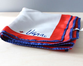 Mod Vera scarf in red, white and blue, 1970s square.