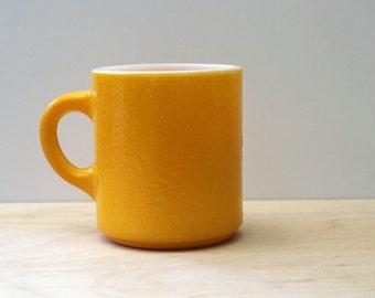 Orange Citrus.  Vintage Anchor Hocking textured mug, 1960s Fireking.
