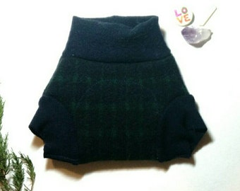 Small Navy Green Plaid Upcycled Wool Soaker Diaper Cover / Heavy Wetter Bulletproof Wool Diaper / Gifts Under 25 /Night Diaper Cover