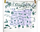 Tea Towel Oregon Green and Lavender on White Flour Sack 100% Cotton
