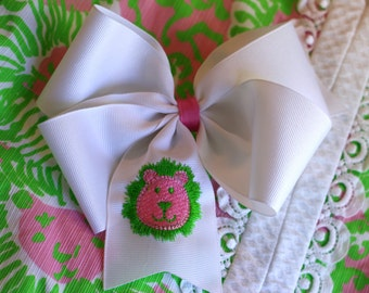 Embroidered Lilly Lion Head Hair Bow Big Boutique Pink Green Preppy