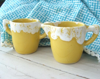 Vintage Drip Glaze Pottery Cream and Sugar Yellow and White