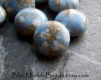 Round Bead, Foil Bead, Blue Marble Beads, Gold Foil, Flecked Beads, Mottled Beads, Lentil Beads, Sky Blue, 16 Beads