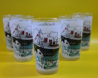 vintage | queen mary long beach frosted glassware drinkware glass cups