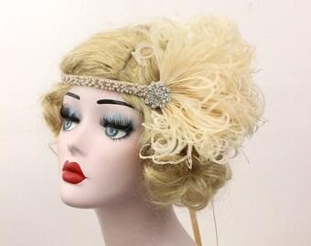 Champagne Feather Headband, 1920's Flapper Hair Accessory, Great Gatsby Headpiece, Unique Wedding Fascinator, Bridesmaids Headpiece