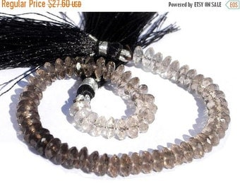 55% OFF SALE 1/2 Strand AAA Genuine Smoky Quartz Shaded German Cut Faceted Rondelles Size 6.5mm Approx High Quality, Wholesale Price