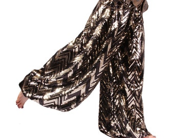 Pantaloons, YOUR SIZE, Sequin, Pants, Bloomers, Gold and Black, Dance, Tribal, Bellydance, Cabaret, Dark Fusion Boutique