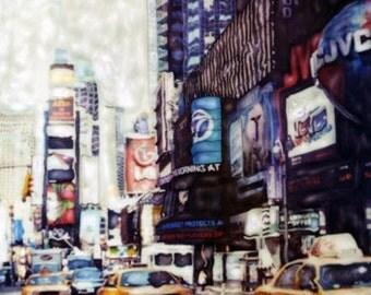 Times Square  - Polaroid SX-70 Manipulation - 8x8 Fine Art Photograph, Wall Decor