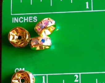 6mm GOLD AB Crystal Rondelle spacer beads 50 pcs