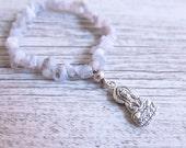 Blue Lace Agate Bracelet | Tara Buddhist Charm | Crystal Chip Bracelet | Charm Bracelet | Blue Lace Agate Crystal Bracelet