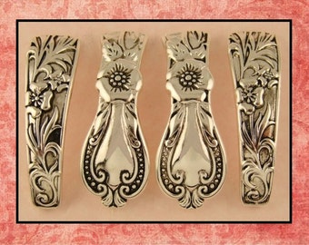 Beads Cutlery Spoon Pattern Bangle Bars ~ Raised Filigree ~ Silver Metal ~ 2 Hole Beads QTY 4