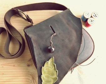 Leather Messenger Bag, Small across body gypsy bag, ARRIETY 3122 chocolate