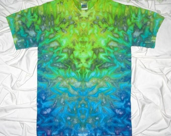 tie dye, small ice dye shirt by grateful dan dyes, ice dye inkblot design