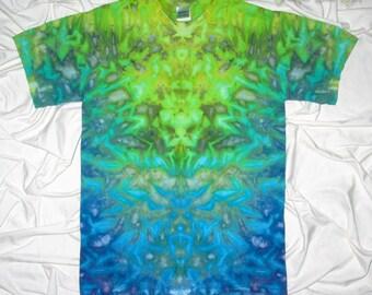 tie dye, small ice dye shirt by grateful dan dyes, ice dye inkblot design