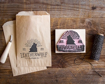 "Hand-Carved Rubber Stamp of Your Logo with Wood Handle (up to 4"" x 4"") Large Size Great for Packaging Branding Marketing Materials"