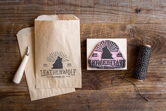 """Hand-Carved Rubber Stamp of Your Logo with Wood Handle (up to 4"""" x 4"""") Large Size Great for Packaging Branding Marketing Materials"""
