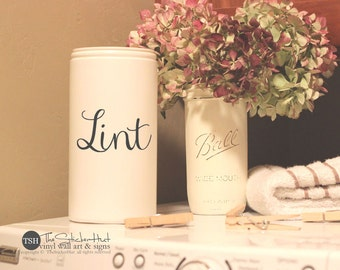 Lint Vinyl Decal - Laundry Room Decor - Vinyl Lettering - Removeable - Washer Dryer Decor - Wall Art Words Text Door Sticker Decal 1920