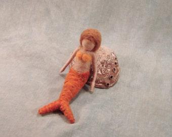 Needle Felted Wool Mermaid - Bendable Posable -Waldorf Inspired - Golden Orange