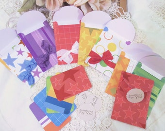Gift Card Envelopes Holders with ribbons & seals - Bright Colors - Set of 15 - Birthday Gift Card Envelopes Holders