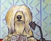20 % off Tibetan Terrier Reading a Book Dog Art Tile artwork