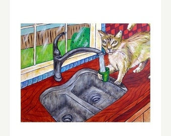 Cat Getting a Drink From a Sink Animal Art Print