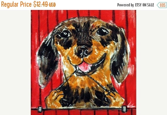 10% off SALE Dachshund Flossing Dog Art Tile Coaster Gift