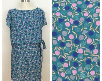 80s Lorac Original Teal Floral Side Tie Dress, Mini Dress, Size XL to 1X, Plus Size