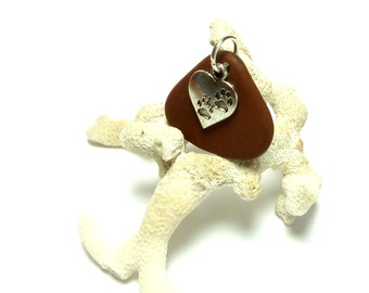 Rescue Beach Stone River Rock Pebble Drilled with Charm Pet Lovers Cat Dog Paw Print Silver Charm Natural Brown Fanned Stone SIENNA PAWS