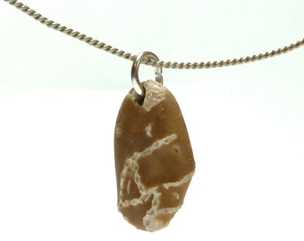 Beach Stone Fossil Pendant AHOY Jewelry Bead Drilled Pebble Ancient River Rock Rare Chain Coral Natural Fossil Charm Tribal Influence