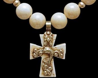 Nepali Creamy White Howlite Cross & Beads