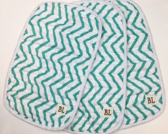 3 pack Muslin Burp Cloths, made from organic cotton - Teal Chevron - 4 layers of soft muslin