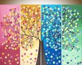 """Art Painting acrylic Landscape painting four season tree wall decor home decor Wall art """"365 Days of Happiness"""" by qiqigallery Ready To Hang"""