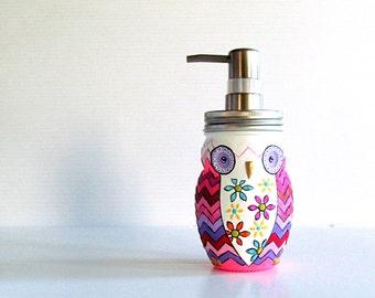 Owl Soap Dispenser: Hand painted Owl Pinks chevron glass mason jar owl dispenser