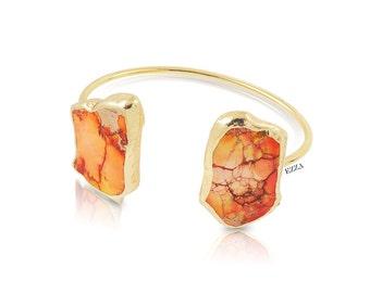 Turquoise Stone Bracelet | Large Stone Cuff | Stone bangle | Large stone bracelet | Large stone cuff | Turquoise Statement bracelet