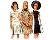 Vintage 60s Dress Sewing Pattern Sheath Empire Waist Princess Seam Flare A Line Skirt Dress Bust 36 size 14 Medium Large Butterick 5086
