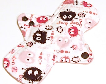 "Cloth Menstrual pad- 8 inch MEDIUM/REGULAR flow pad -bamboo/organic cotton core- PUL - Cotton flannel top ""Pink Ooga Boogas"""