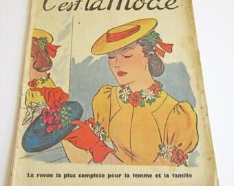 Vintage French Magazine C'est la Mode 1930's Fashion and Sewing April 1938