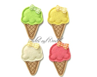 Ice Cream Cone Appliques, Felt Ice Cream Cones, Tropical Ice Cream Felt Appliques, Summer Felties, Beach Felt Appliques, Felties For Clips